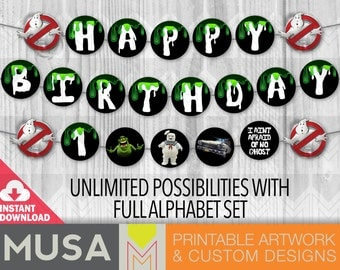 INSTANT DOWNLOAD / printable / Ghostbusters full alphabet party banner
