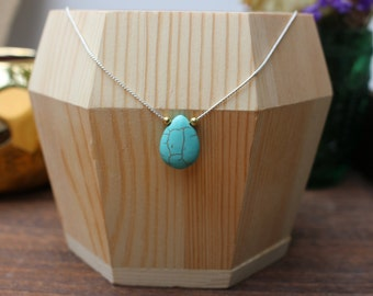 Silver, gold & Turquoise Drop Back Necklace