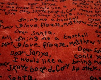 Holiday Christmas Fabric Childs Hand Written Letter To Santa