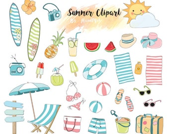 Summer clipart , Beach Clipart Instant Download PNG file - 300 dpi