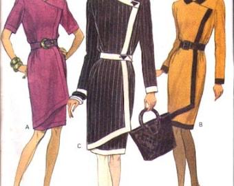 Vogue Pattern 8481 Misses Mock Wrap Dress  UNCUT Size: 6-8-10