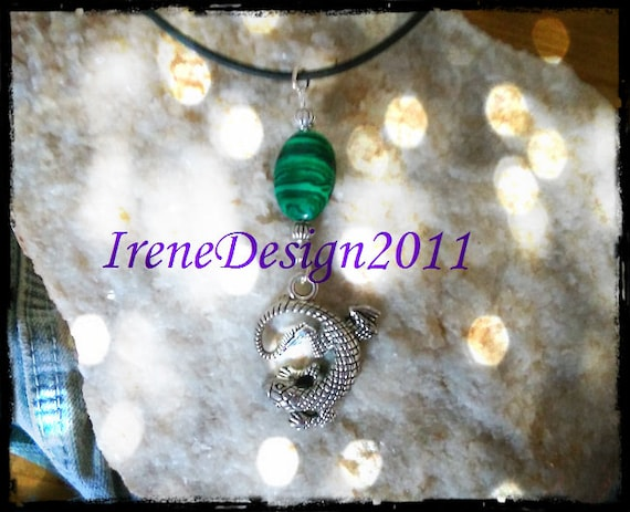 Handmade Leather Necklace with Malachite & Salamander by IreneDesign2011