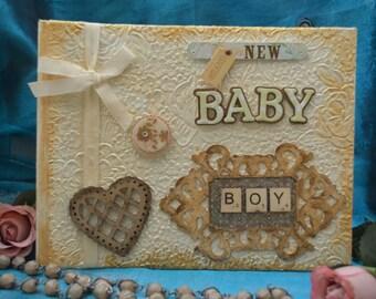 New Baby Boy photo album, Gift for Christening /Baptism,Gift for grandson,Godson,Baby Boy shower gift idea