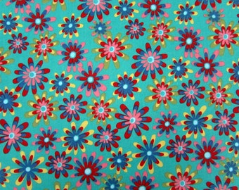 Flower Power Teal Fabric