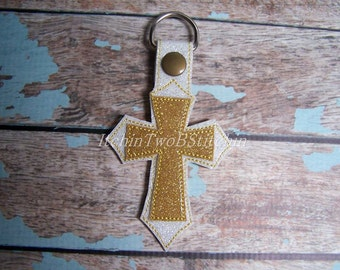 Double Cross - Appliqued Cross - Stacked Cross - In The Hoop - Snap/Rivet Key Fob - DIGITAL Embroidery Design