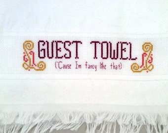 Fancy guest towel PDF pattern, funny cross stitch pattern, classy needlepoint, cute embroidery, digital download, hospitality printable