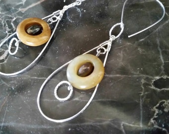 Silver, Jade, and Freshwater Pearl Earrings. Delicate and Airy.