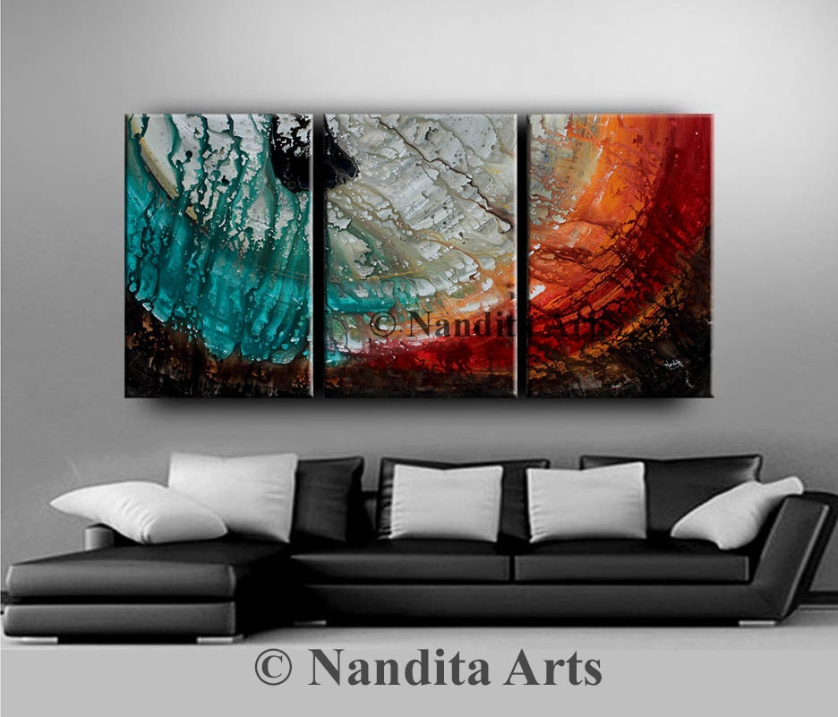 Red Wall Decor Art : Painting red large wall art decor acrylic landscape abstract