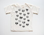 On Sale! Ready to ship! 2T EYES print baby and kid shirt. 100% soft cream organic cotton