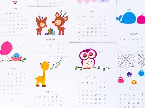 Cute Kids Calendar : Printable kids calendar diy animal cute by