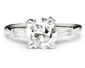 Vintage European Diamond 3 Stone Platinum Engagement Ring w/ Baguettes 1.80ctw