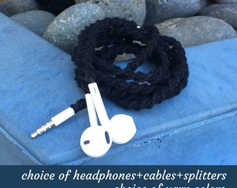 Wrapped Earbuds ~ Custom Headphones for iPhone, iPod, Android Smartphone Tablets ~ Choice of Colors ~ Unique Birthday Gift for Dad Grad Men
