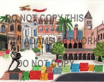 GRADUATION - USC in Los Angeles - Watercolor Painting Graduation Gift Full of Memories Missouri Retirement HouseWarming