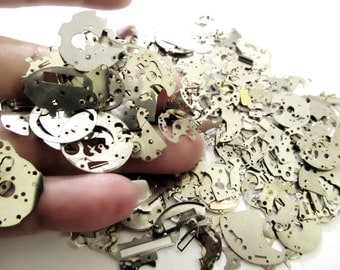 15 Grams Steampunk Watch Parts, Silver Watch Movement Flat Plate Parts, Old Watch Parts, For Art Deco, Steampunk Altered Art Jewelry 3A146