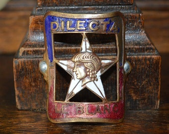 Antique French Bicycle Head Badge Bronze Enamel Dilecta Le Blanc Headbadge Plaque