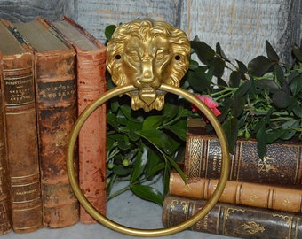 Vintage French Brass Lion Head Towel Ring Bathroom Kitchen Hardware