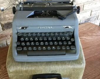 July SALE Vintage Royal Typewriter Quiet De luxe Manual Grey Metal Mid Century Portable