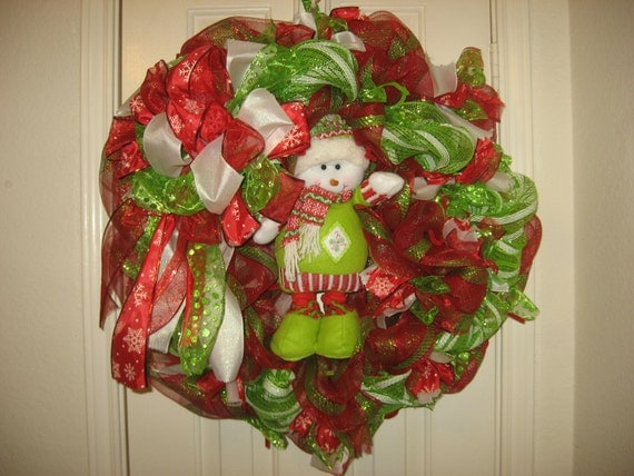 Green and Red Snowman Mesh Wreaths Page Four