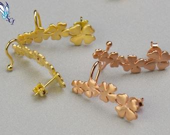 Four Leaf Clover Ear Crawler, Four Leaf Clover Earring, Shamrock Earrings, Shamrock Studs, Goodluck Charm, Clover Earrings, Lucky, SER334