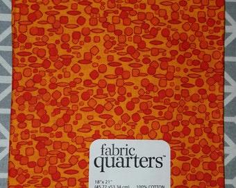 Orange Shapes  Cotton Print Fat Quarter Fabric