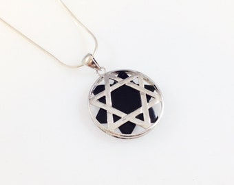 black Onyx Star of David magen david Sterling silver 925 Handmade Gemstone pendant Judaica Gift