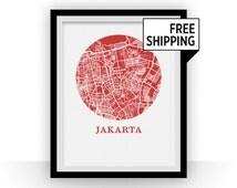 Jakarta Map Print - City Map Poster