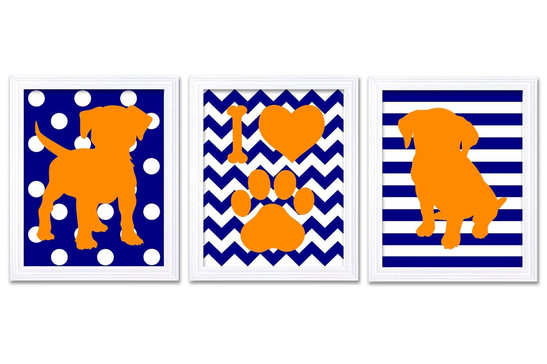 Puppy Dog Nursery Art Puppy Prints Set of 3 Prints Orange Navy Blue Stripes Chevron Polka Dots Baby