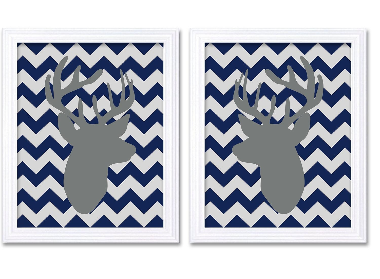 Deer Nursery Art Deer Head Prints Set of 2 Navy Blue Grey Chevron Baby Wall Decor Forest