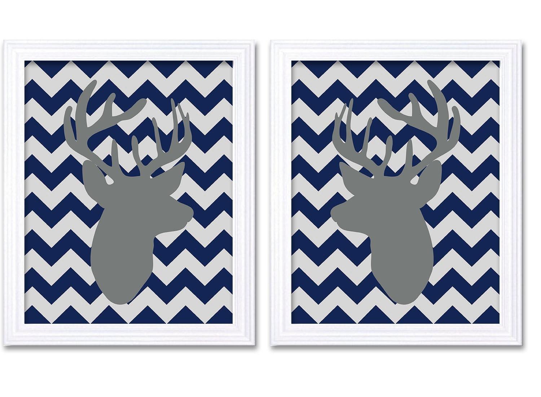 Deer Nursery Art Deer Head Prints Set of 2 Navy Blue Grey Chevron Baby Wall Decor Forest