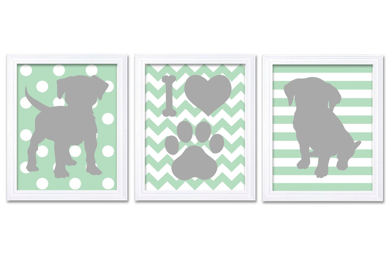 Puppy Dog Nursery Art Puppy Prints Set of 3 Prints Green Mint Grey Stripes Chevron Polka Dots Baby W