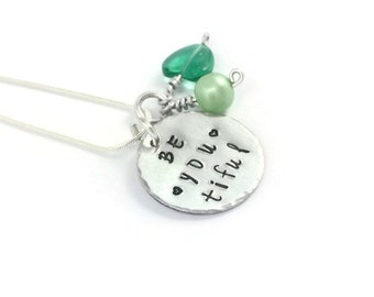 Beautiful be-YOU-tiful necklace, Name Necklace, Motivational Jewellery, Gift For Her, Mum Mom Sister Friend Daughter Jewellery,Hand Stamped