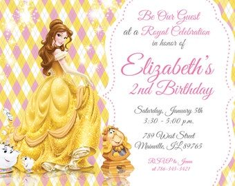 Beauty and the Beast, Belle, Princess, Birthday Party Invitation - Digital or Printed