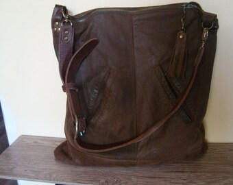 brown recycled leather bag///vintage leather belt