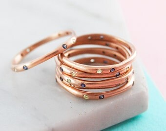 Stackable Rings, Rose Gold Ring, Birthstone Ring, Gemstone Stacking Ring, Gemstone Ring, Organic Ring, Simple Ring, Thin Ring, Designer Ring