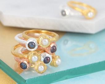 Pearl Ring, Gold Pearl Ring, Gold Ring, Silver Ring, Rose Gold Ring, White Pearl Ring, Freshwater Pearl, Bridesmaids Ring, Handmade Ring