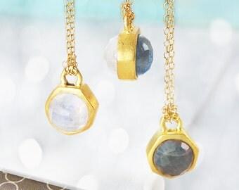 Moonstone Necklace, Labradorite Necklace, Pendant Necklace, Gemstone Pendant, Gemstone Necklace, Gold Gemstone Necklace, White Gemstone