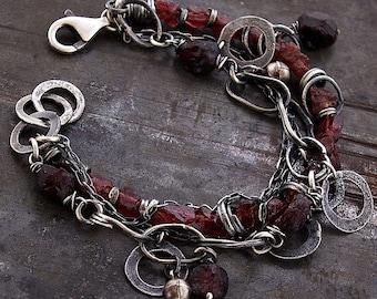 USE CODE ! • Sale 10 - 20 % OFF • Raw Garnet  bracelets • Chain link bracelet • raw silver •  925 sterling silver • chain charm bracelet