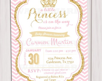 Pink And Gold Princess Baby Shower Invitation, Chevron Invitation, Girl Baby  Shower, Gold