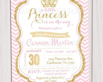 Pink and Gold Princess Baby Shower Invitation, Chevron Invitation, Girl Baby Shower, Gold Glitter invitation, Printable invite