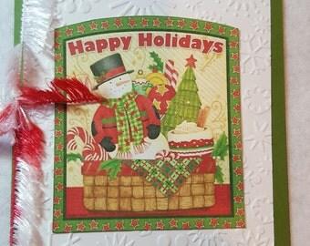 Happy Holidays snowman Handmade Christmas Card