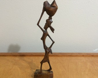 African Wood Sculpture Woman - Folk Art - Lady with Basket