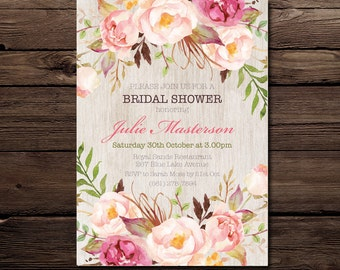 Bridal Shower Invitation - Floral Invitation - Personalised Invitation - Printable Invitation - Digital  - Custom - Bridal Shower Invitation