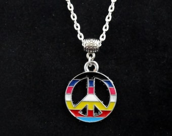 Peace charm necklace, Peace sign necklace, Long peace sign necklace, Colourful peace sign necklace, Layering necklace