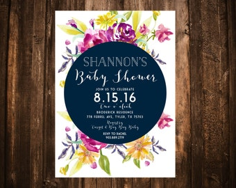 Navy & Magenta Wildflower Baby Shower Invitation; Watercolor; Printable or set of 10