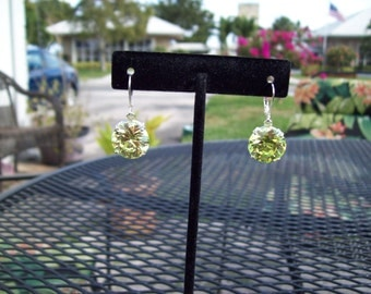 PERFECT SIZE - Bright Lime-Apple  Green Sterling Silver Gemstone Earrings -14mm round