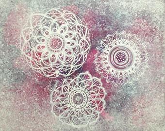 """Mandala Painting, Mandala Original Wall Art, """"Lucky Three"""""""