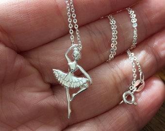 Ballerina Necklace, Sterling silver Necklace, Sterling Silver Ballerina Necklace, Dance Recital Gift, Dancer Silhouette, Dance Necklace