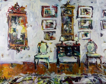 Huge Original Canvas Still Life Painting 36H x 48W Inches. Depicting An Interior With Chair And Other Decor