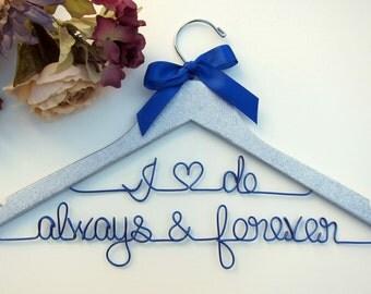 Silver Glitter Wedding Hanger - Bridal Hanger - Bridesmaid Gift - Bridal Shower - Graduation Gift - Ribbon Color of your Choice
