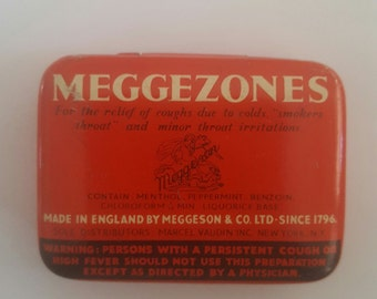 Vintage medical tin, Meggezones for relief of cold symptoms, empty tin made in England by Meggesons & Co